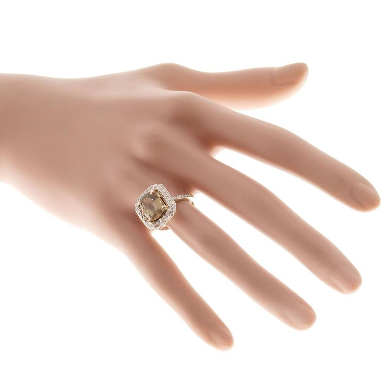 Brown Sapphire Diamond Gold Engagement Ring For Sale 3