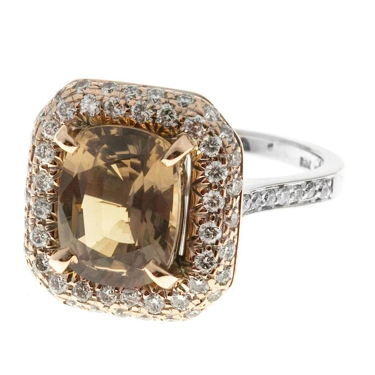 Women's Brown Sapphire Diamond Gold Engagement Ring For Sale