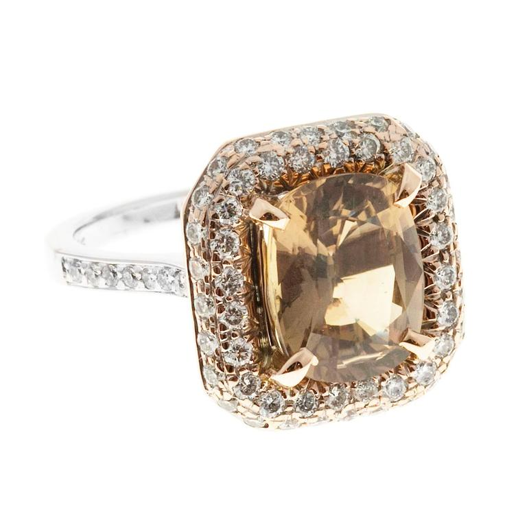 Brown Sapphire Diamond Gold Engagement Ring For Sale 1