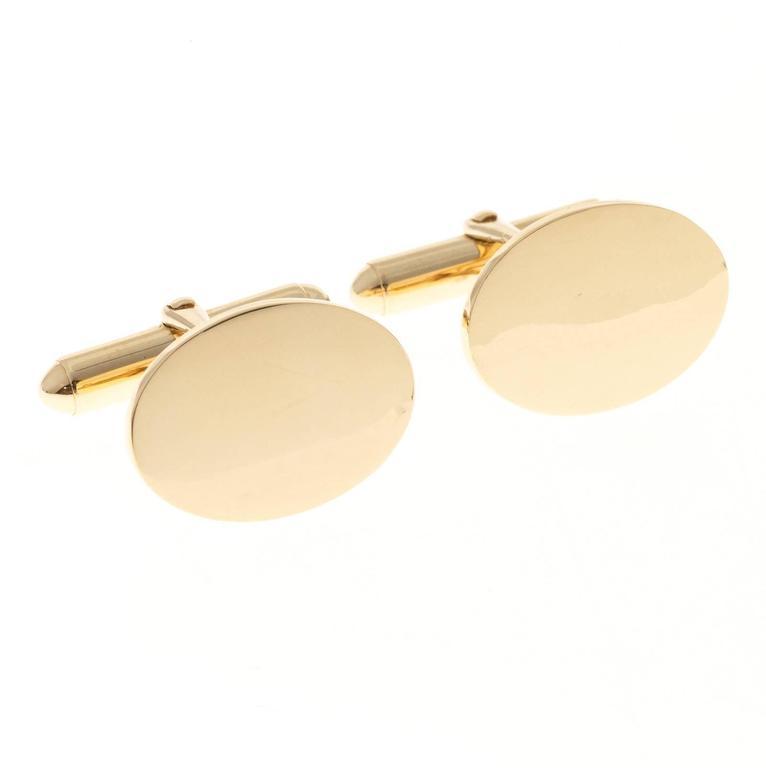 Men's Larter & Sons Gold Oval Cufflinks For Sale