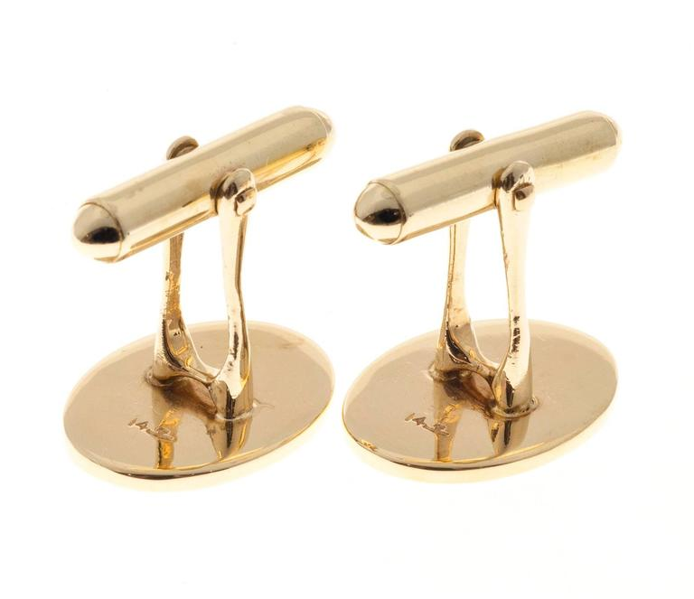 Larter & Sons Gold Oval Cufflinks For Sale 1