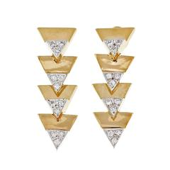 Triangle Diamond Gold Dangle Earrings