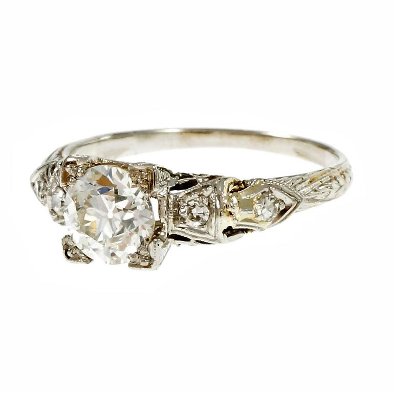 Art Deco Old European Diamond Filigree Platinum Engagement Ring For Sale at 1