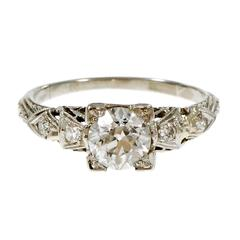Art Deco Old European Diamond Filigree Platinum Engagement Ring