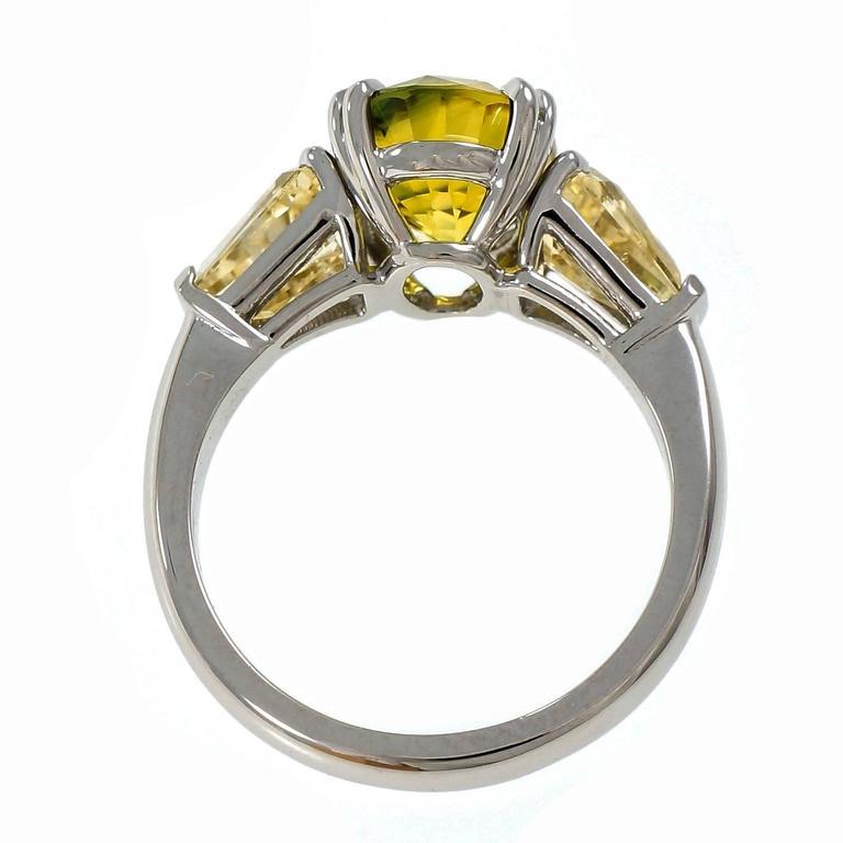 Natural Green Yellow Sapphire Platinum Three-Stone