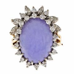 GIA Certified Purple Lavender Jadeite Jade Diamond Gold Cocktail Ring