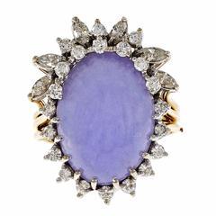 Purple Lavender Jadeite Jade Diamond Gold Cocktail Ring
