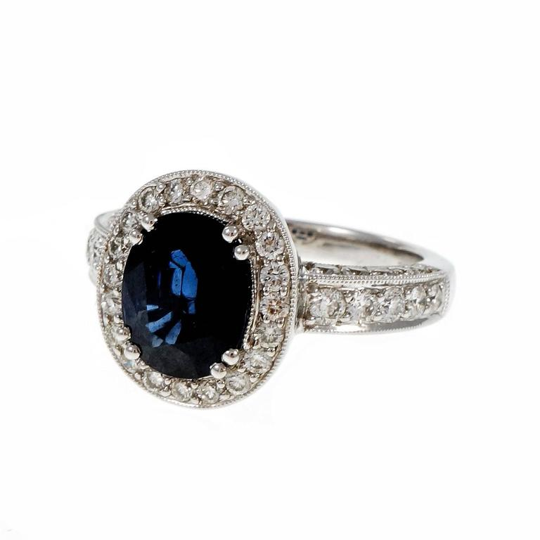 Oval 3 48 Carat Royal Blue Sapphire Diamond Gold Halo Engagement Ring For Sal