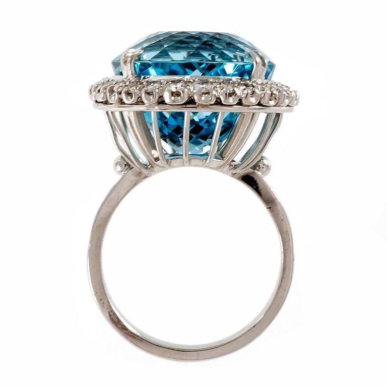Santa maria round aquamarine diamond halo gold ring for for Santa maria jewelry company