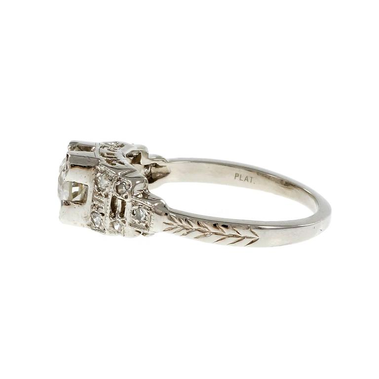 Art Deco Diamond Old European Cut Engagement Platinum Ring  In Good Condition For Sale In Stamford, CT