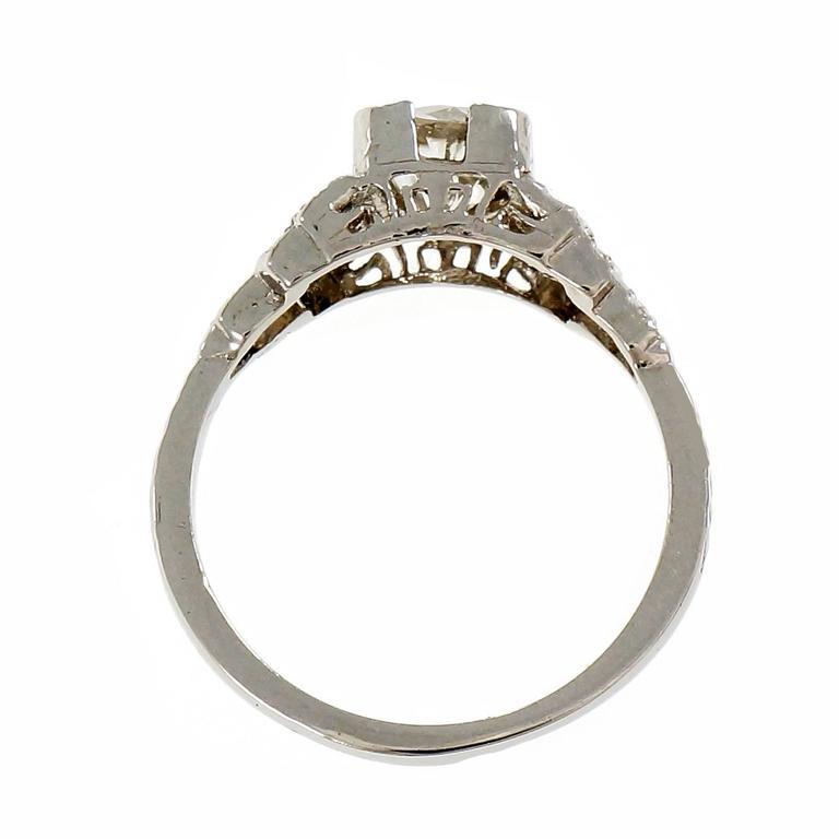 Women's Art Deco Diamond Old European Cut Engagement Platinum Ring  For Sale
