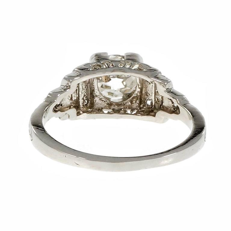 Art Deco Diamond Old European Cut Engagement Platinum Ring  For Sale 1