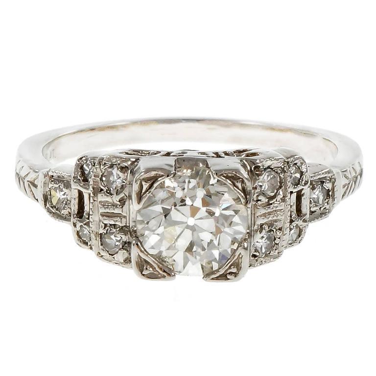Art Deco Diamond Old European Cut Engagement Platinum Ring  For Sale