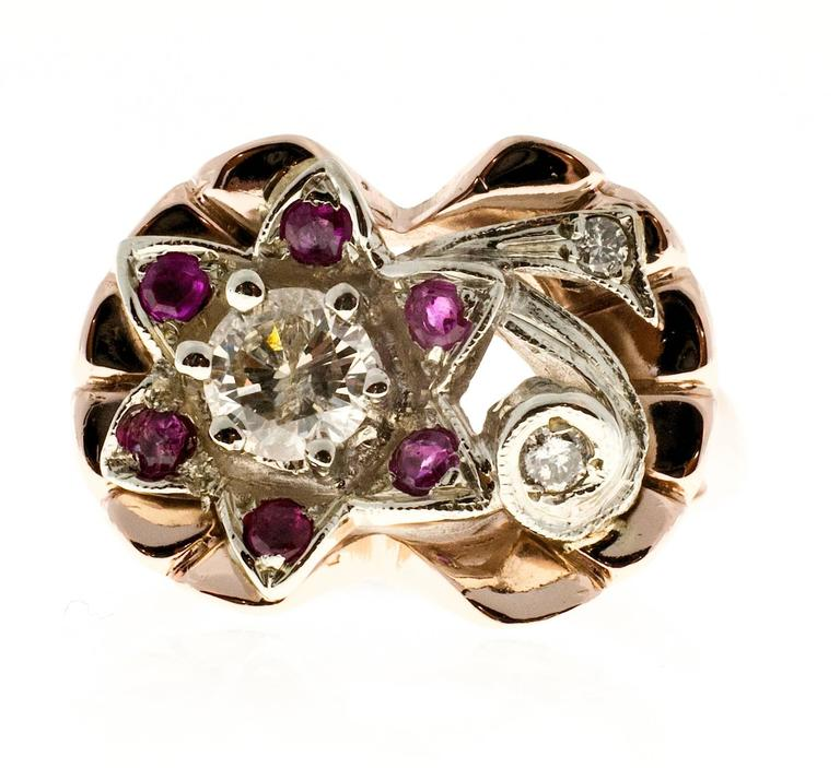 Diamond Ruby Flower Rose White Gold Cocktail Ring  In Good Condition For Sale In Stamford, CT