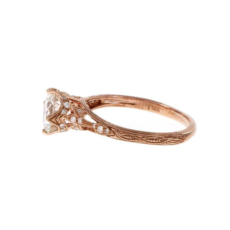 Peter Suchy Transitional Cut Diamond Rose Gold Engagement Ring  For Sale 1