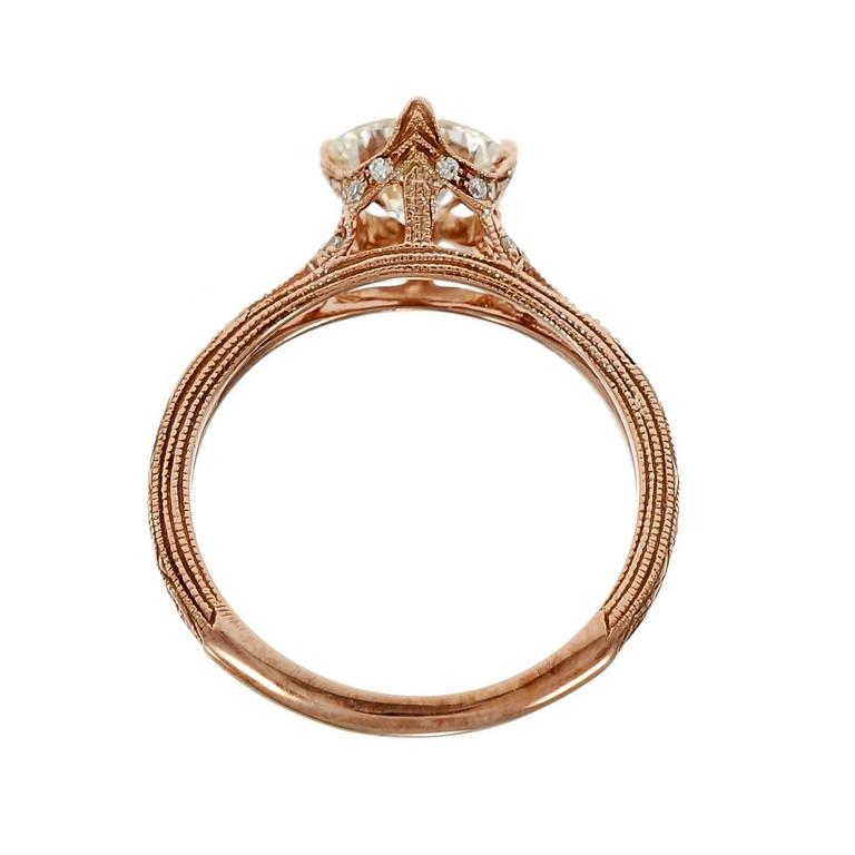 Women's Peter Suchy Transitional Cut Diamond Rose Gold Engagement Ring  For Sale
