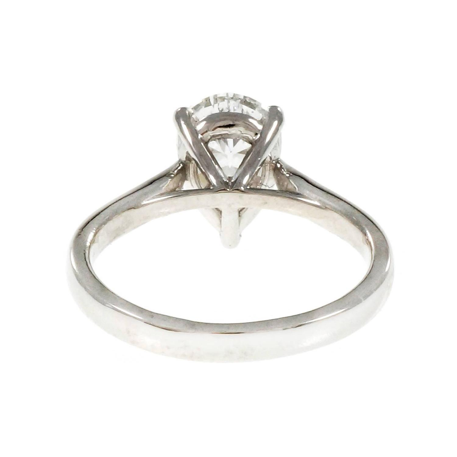 Peter Suchy Teardrop Pear Shape Diamond Platinum Solitaire Engagement Ring Fo