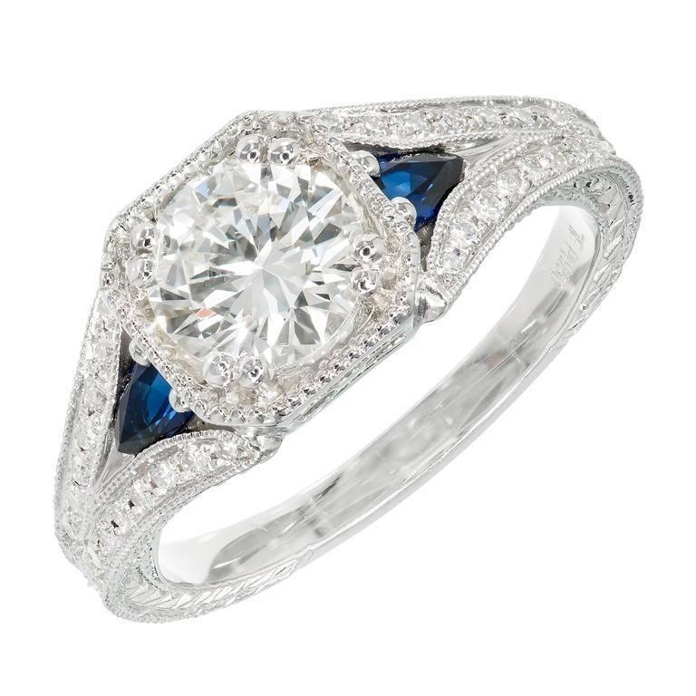 Peter Suchy Transitional Cut Diamond Sapphire Platinum Engagement Ring