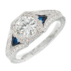 Peter Suchy Transitional Cut Diamond Sapphire Platinum Engagement Ring