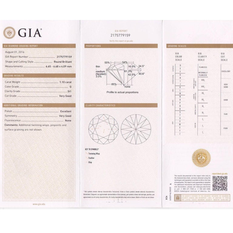 Round Cut Peter Suchy GIA Certified 1.10 Cara Diamond Solitaire Gold Engagement Ring For Sale