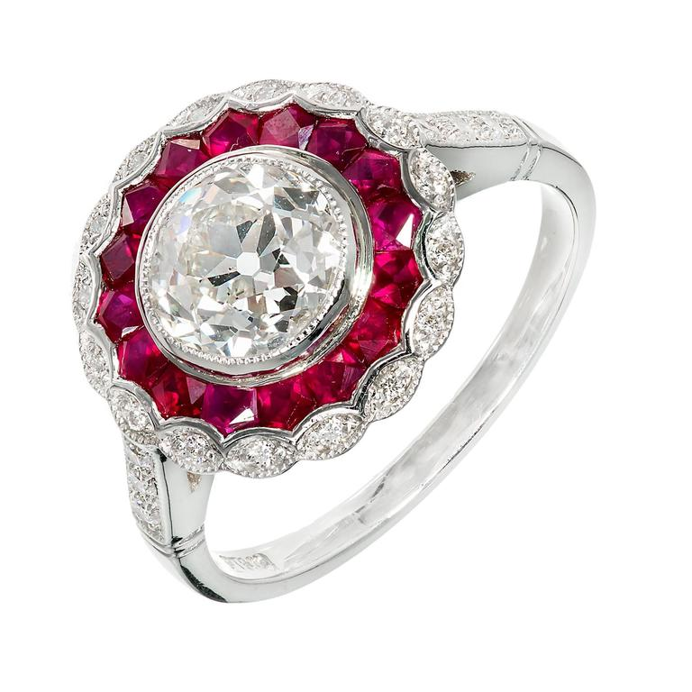 ruby halo platinum engagement ring at 1stdibs