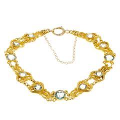 Blue Zircon Art Nouveau Open Work Gold Bracelet