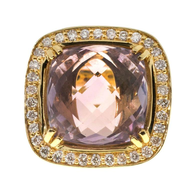 Cushion Smokey Quartz Diamond Halo Gold Cocktail Ring At