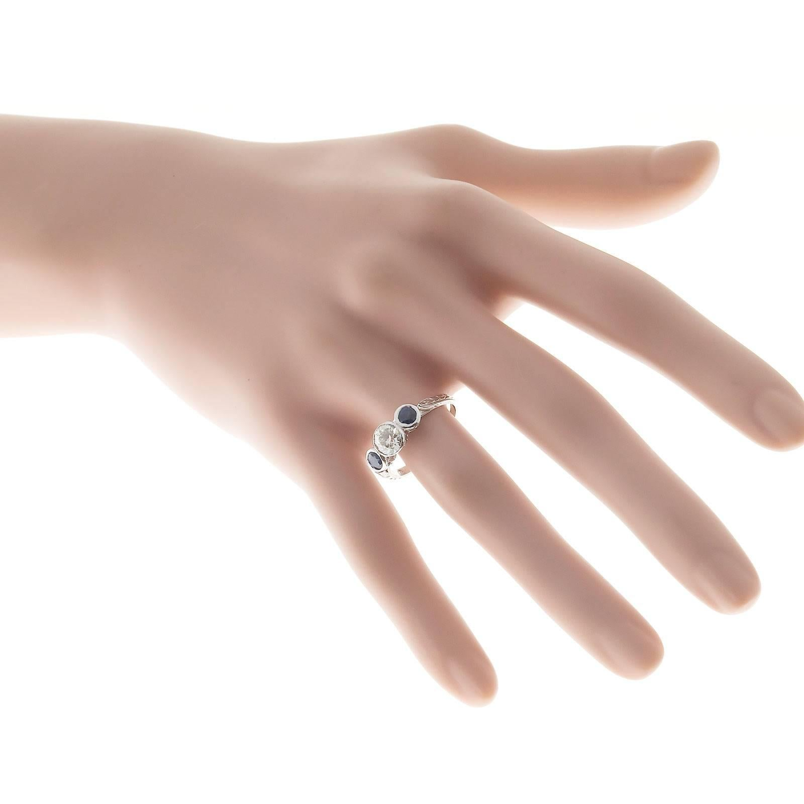 Art Deco Blue Sapphire Diamond Pierced Engraved Three-Stone ...