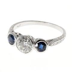 Art Deco Blue Sapphire Diamond Pierced Engraved Three-Stone Engagement Ring