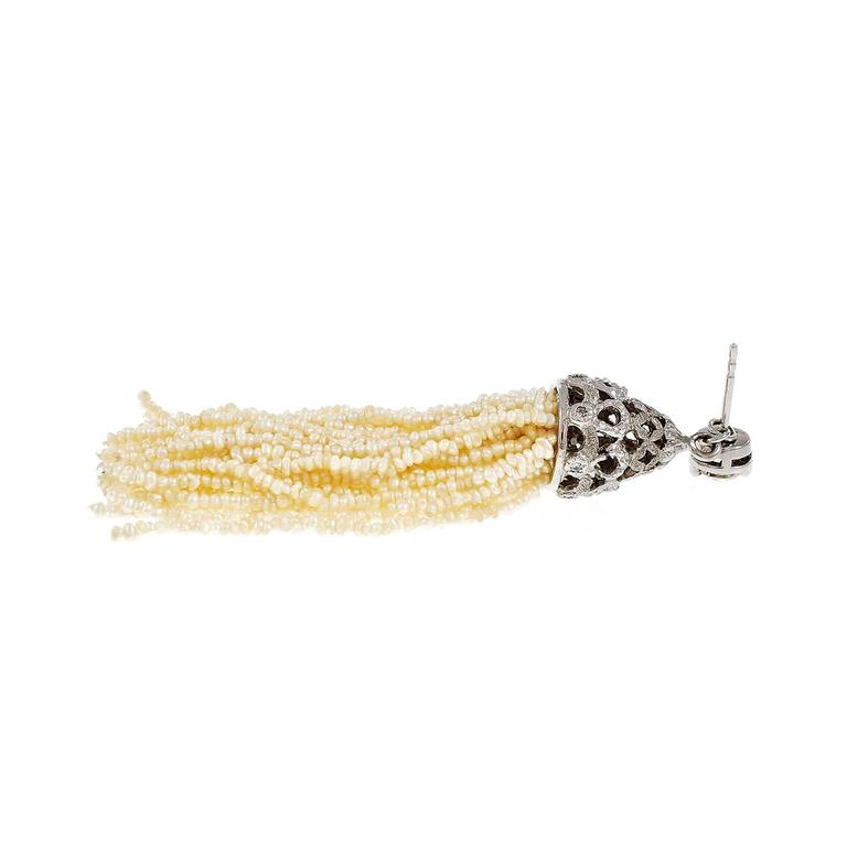 Diamond Natural Seed Pearl Tassel Dangle Gold Earrings In Good Condition For Sale In Stamford, CT