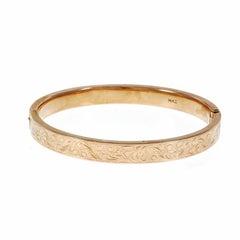 1910s Krementz Engraved Gold Bangle Bracelet