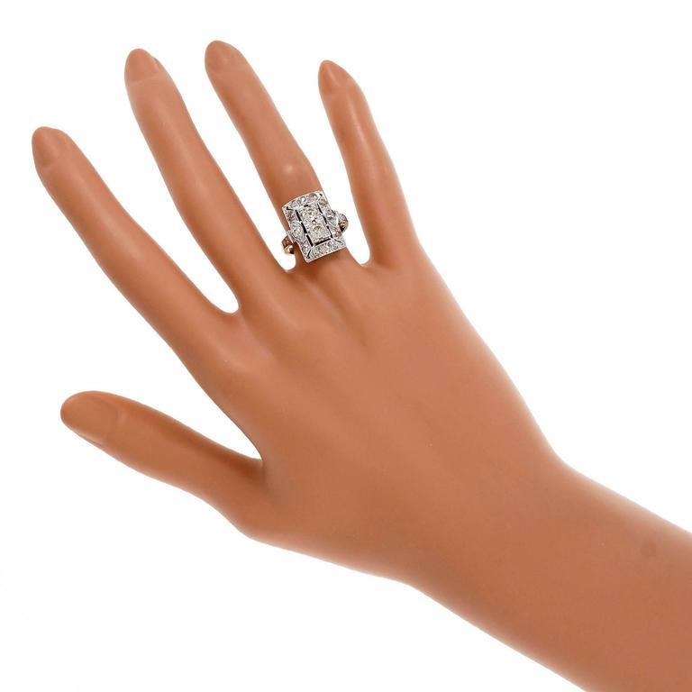 Women's Art Deco Old European Cut Diamond Platinum Ring  Circa 1920