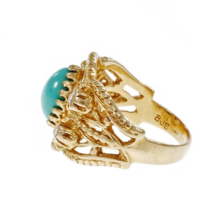 Natural Persian Turquoise Diamond Gold Byzantine Cocktail Ring 3