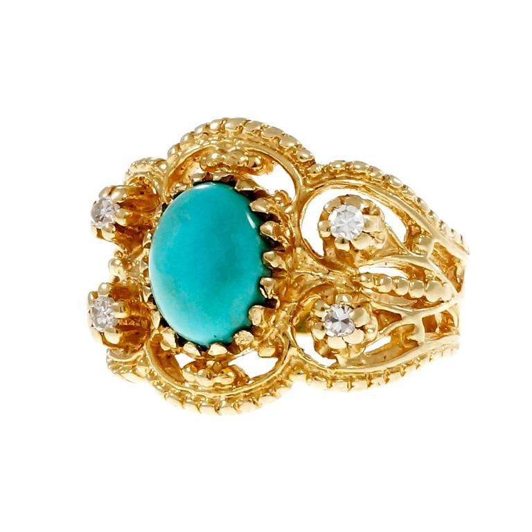 Natural Persian Turquoise Diamond Gold Byzantine Cocktail Ring 2