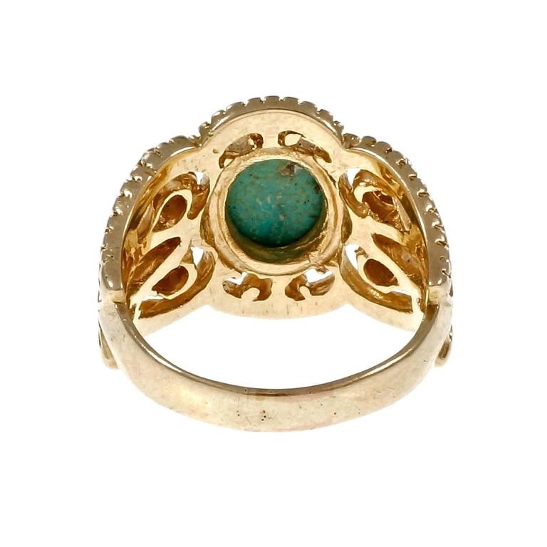 Natural Persian Turquoise Diamond Gold Byzantine Cocktail Ring 4