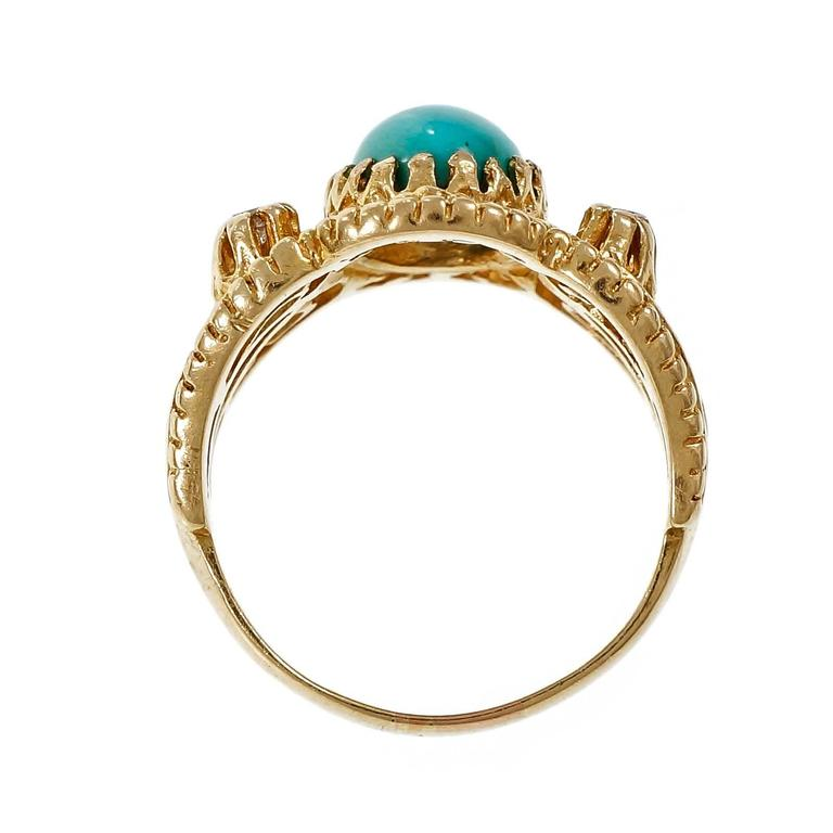 Natural Persian Turquoise Diamond Gold Byzantine Cocktail Ring 5
