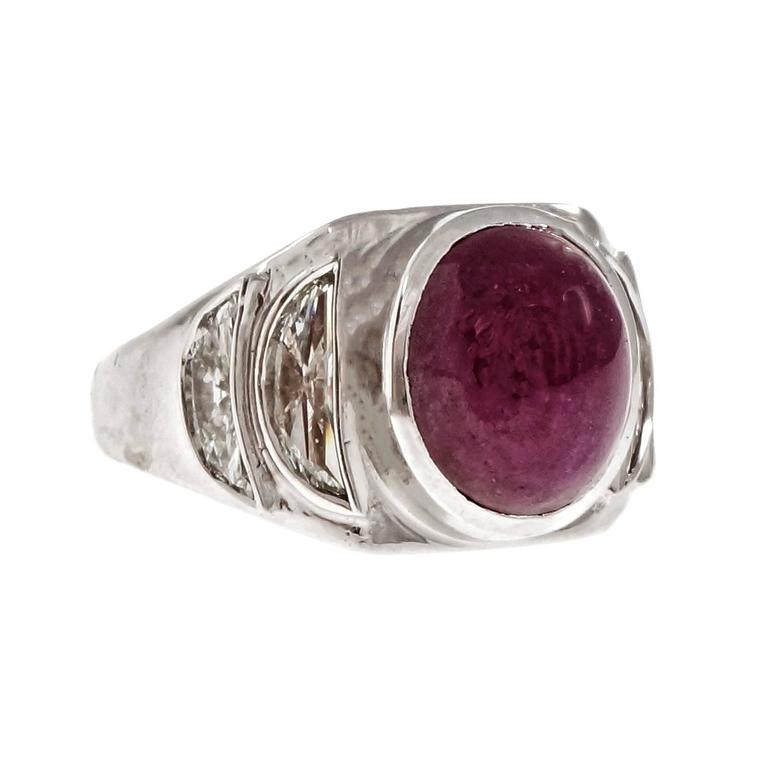 Cabochon Ruby Half Moon Diamond Baguettes Platinum Ring