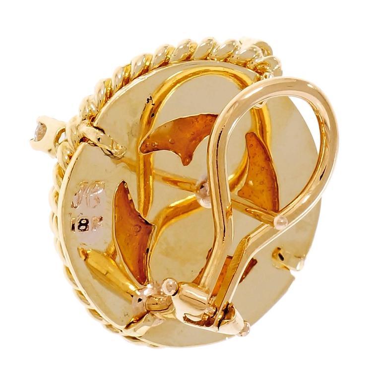 Women's Mabe Cultured Pearl Diamond Gold Swirl Earrings  For Sale