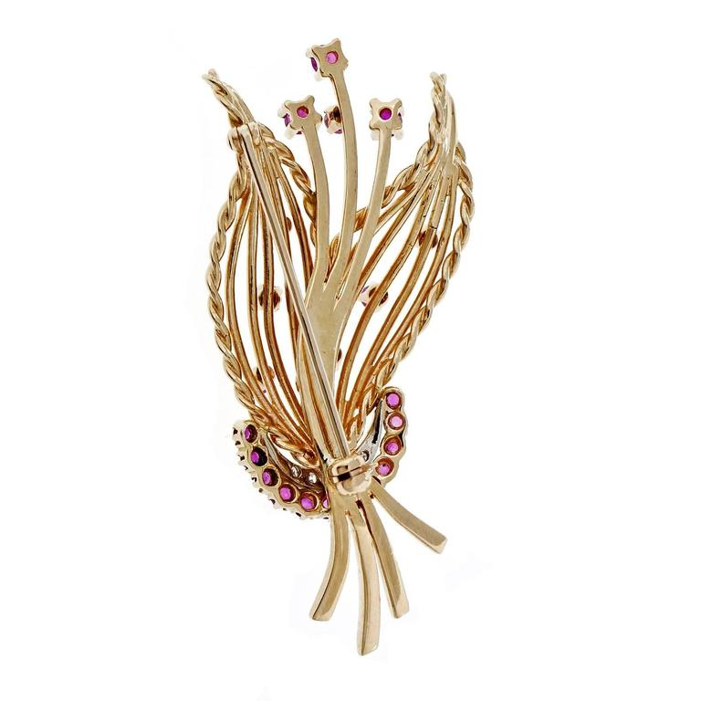 Mid-Century Ruby  Diamond Spray Gold Brooche 4