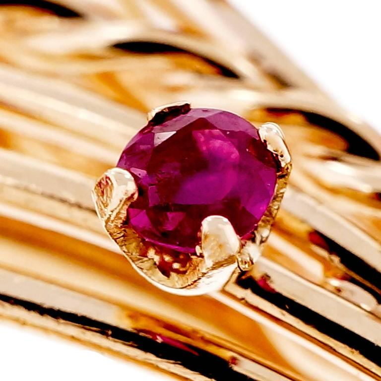 Mid-Century Ruby  Diamond Spray Gold Brooche 5