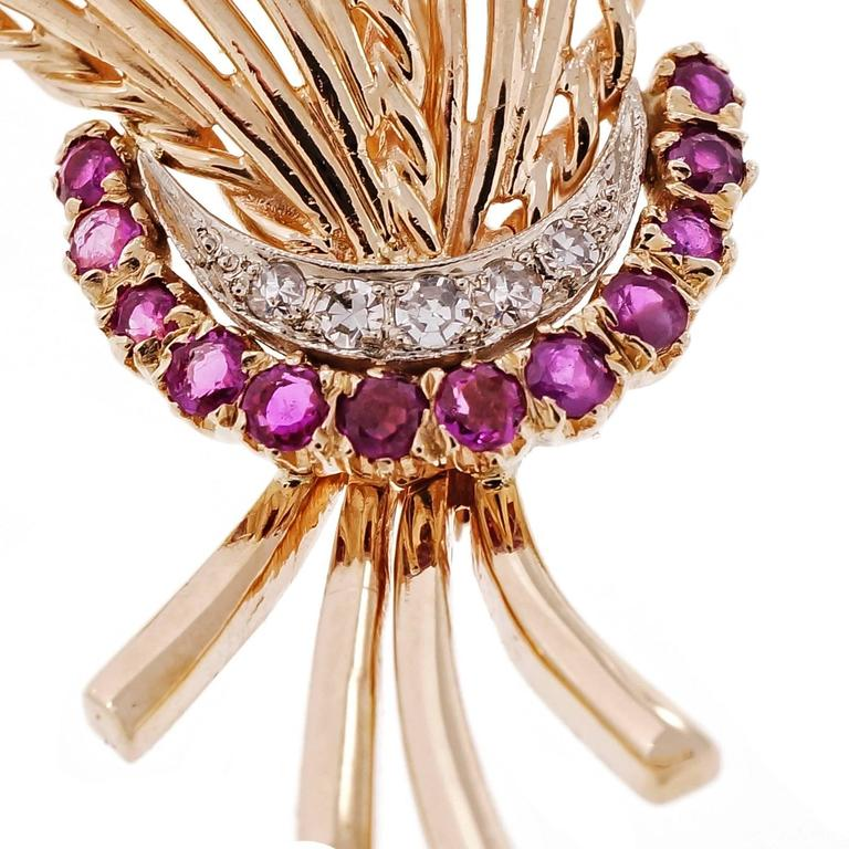 Mid-Century Ruby  Diamond Spray Gold Brooche 2