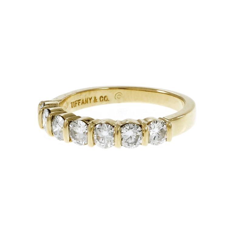 ee268da6c Tiffany & Co authentic 7 round diamond curved bar set wedding 18k yellow  gold band.