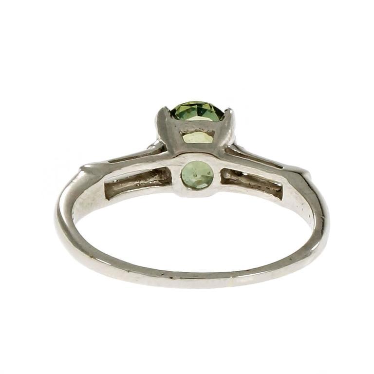 Women's Natural Green Sapphire Diamond Three-Stone Platinum Engagement Ring For Sale
