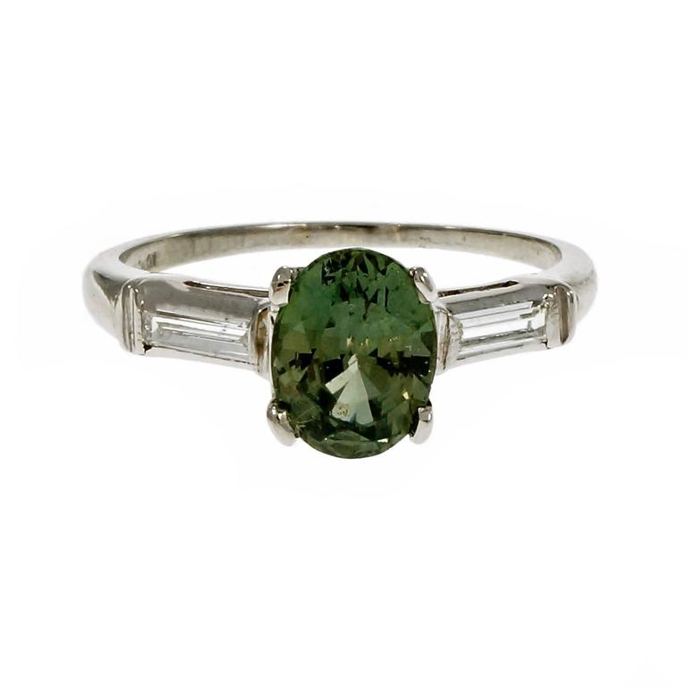 Baguette Cut Natural Green Sapphire Diamond Three-Stone Platinum Engagement Ring For Sale