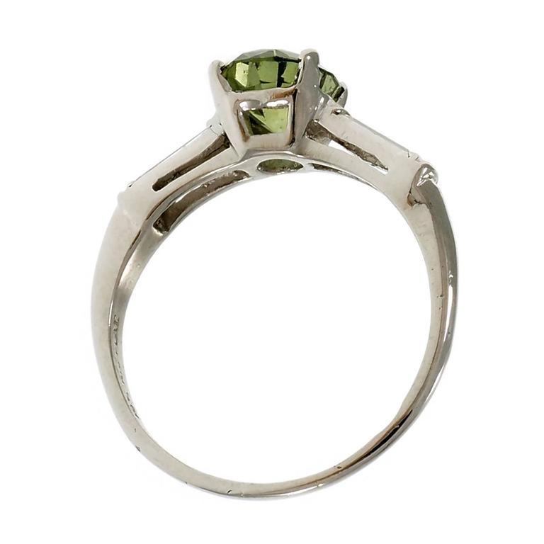 Natural Green Sapphire Diamond Three-Stone Platinum Engagement Ring For Sale 1