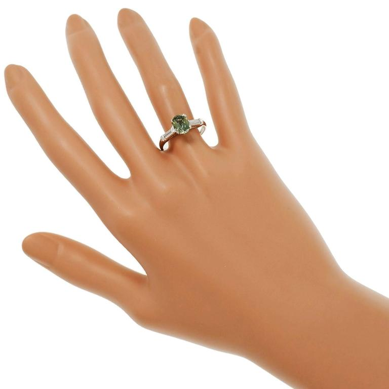 Natural Green Sapphire Diamond Three-Stone Platinum Engagement Ring For Sale 2