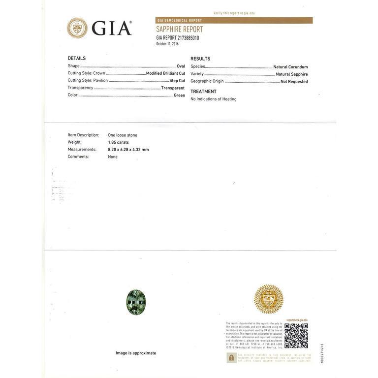 Natural Green Sapphire Diamond Three-Stone Platinum Engagement Ring For Sale 3