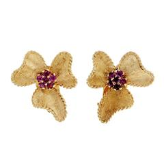 Ruby Hand Textured Gold Bow Earrings