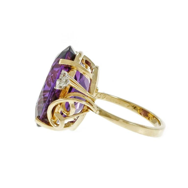 49c1974c63a64 Large Oval Amethyst Diamond Gold Cocktail Ring