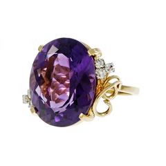 Large Oval Amethyst Diamond Gold Cocktail Ring